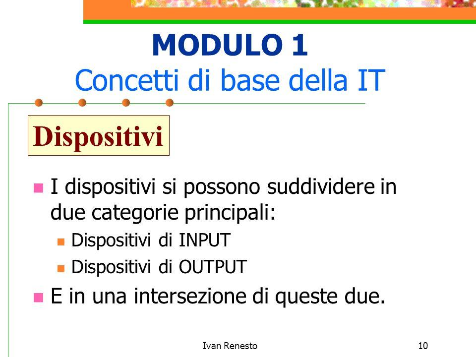 Ivan Renesto10 MODULO 1 Concetti di base della IT Dispositivi I dispositivi si possono suddividere in due categorie principali: Dispositivi di INPUT Dispositivi di OUTPUT E in una intersezione di queste due.