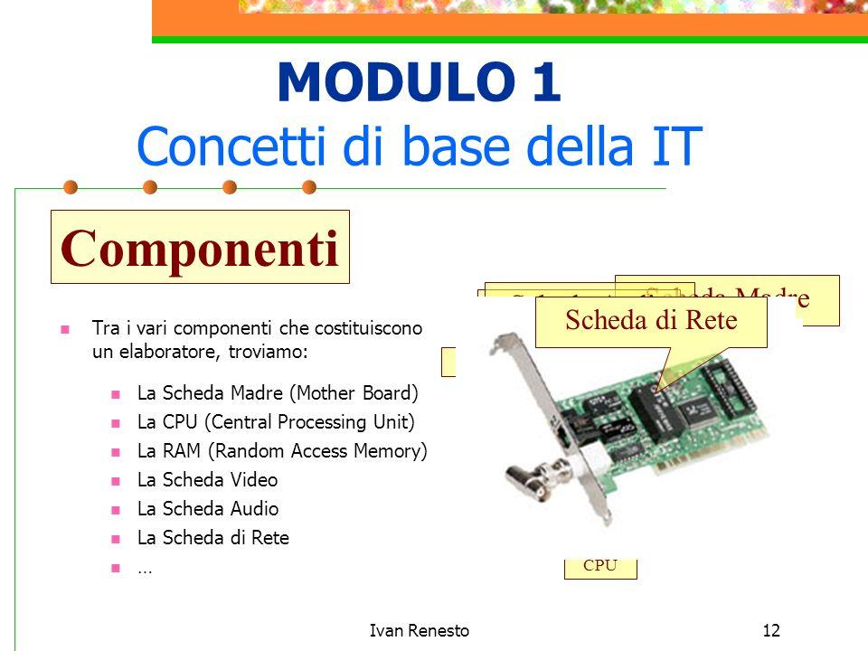 Ivan Renesto12 MODULO 1 Concetti di base della IT Tra i vari componenti che costituiscono un elaboratore, troviamo: Componenti ProcessoriRAM La Scheda Madre (Mother Board) La CPU (Central Processing Unit) La RAM (Random Access Memory) La Scheda Video La Scheda Audio La Scheda di Rete Scheda Madre RAM CPU Scheda VideoScheda AudioScheda di Rete …