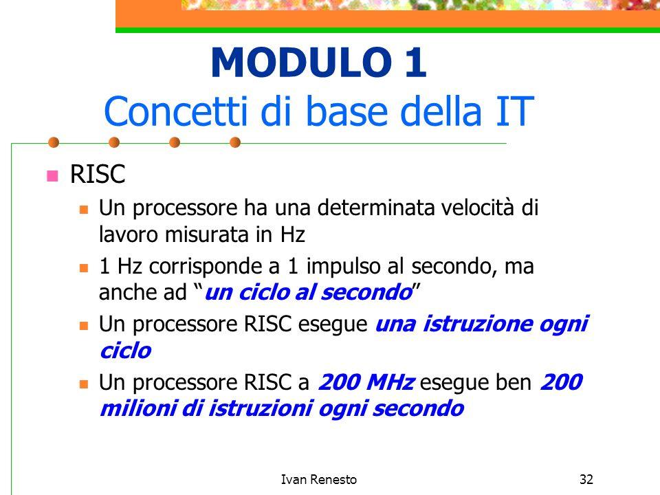 Ivan Renesto32 MODULO 1 Concetti di base della IT RISC Un processore ha una determinata velocità di lavoro misurata in Hz 1 Hz corrisponde a 1 impulso al secondo, ma anche ad un ciclo al secondo Un processore RISC esegue una istruzione ogni ciclo Un processore RISC a 200 MHz esegue ben 200 milioni di istruzioni ogni secondo