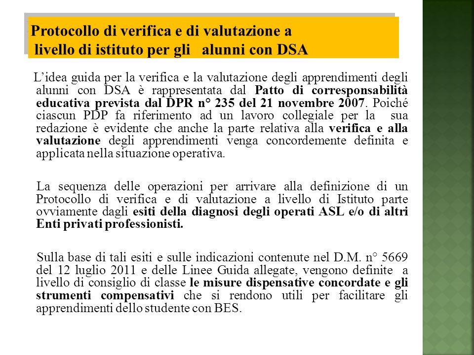 Lidea guida per la verifica e la valutazione degli apprendimenti degli alunni con DSA è rappresentata dal Patto di corresponsabilità educativa prevista dal DPR n° 235 del 21 novembre 2007.