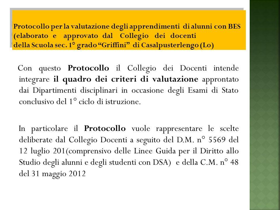 Con questo Protocollo il Collegio dei Docenti intende integrare il quadro dei criteri di valutazione approntato dai Dipartimenti disciplinari in occasione degli Esami di Stato conclusivo del 1° ciclo di istruzione.