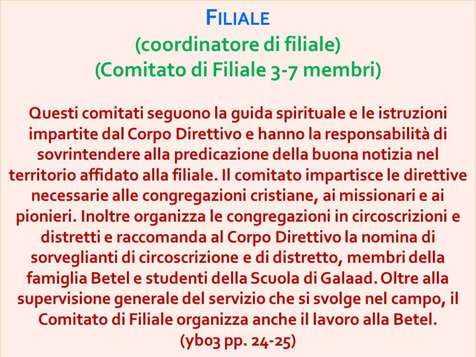 F ILIALE (coordinatore di filiale) (Comitato di Filiale 3-7 membri) Questi comitati seguono la guida spirituale e le istruzioni impartite dal Corpo Di