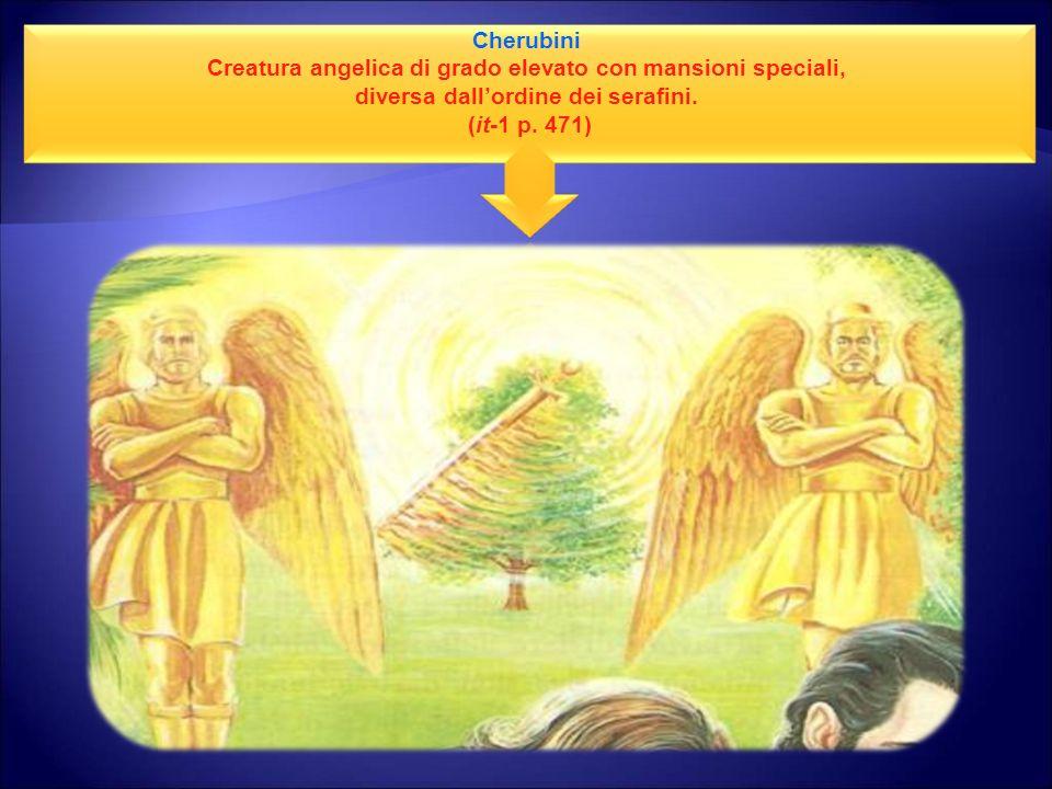 Cherubini Creatura angelica di grado elevato con mansioni speciali, diversa dallordine dei serafini. (it-1 p. 471)