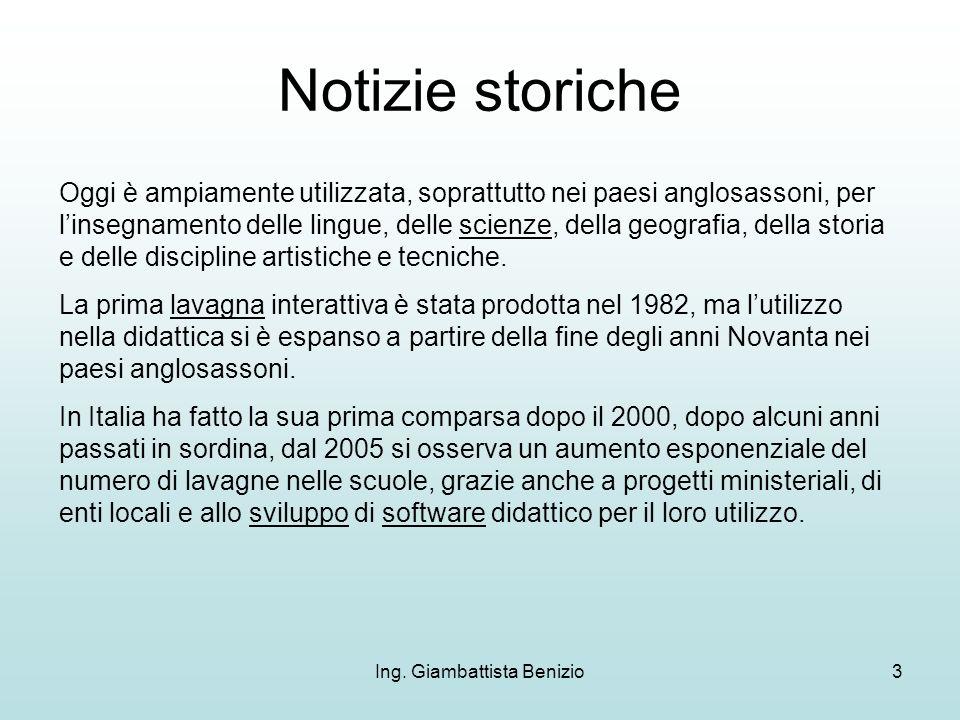 Ing. Giambattista Benizio3 Notizie storiche Oggi è ampiamente utilizzata, soprattutto nei paesi anglosassoni, per linsegnamento delle lingue, delle sc