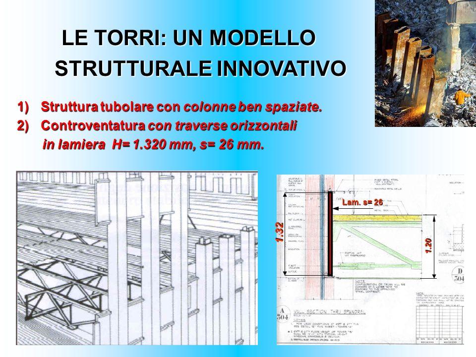 LE TORRI: UN MODELLO STRUTTURALE INNOVATIVO 1)Struttura tubolare con colonne ben spaziate. 2)Controventatura con traverse orizzontali in lamiera H= 1.