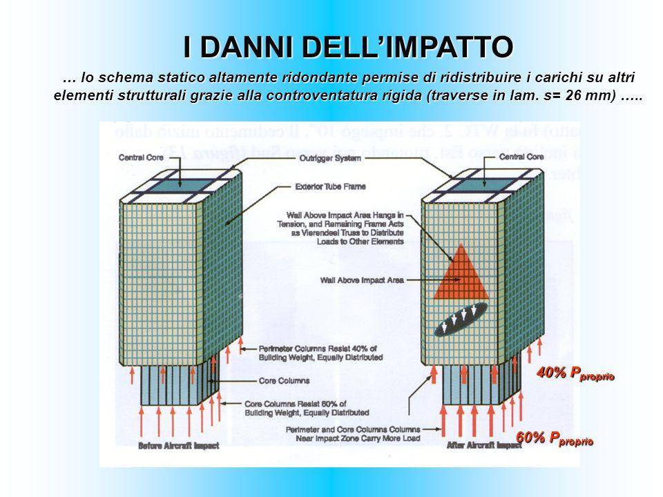 I DANNI DELLIMPATTO … lo schema statico altamente ridondante permise di ridistribuire i carichi su altri elementi strutturali grazie alla controventat