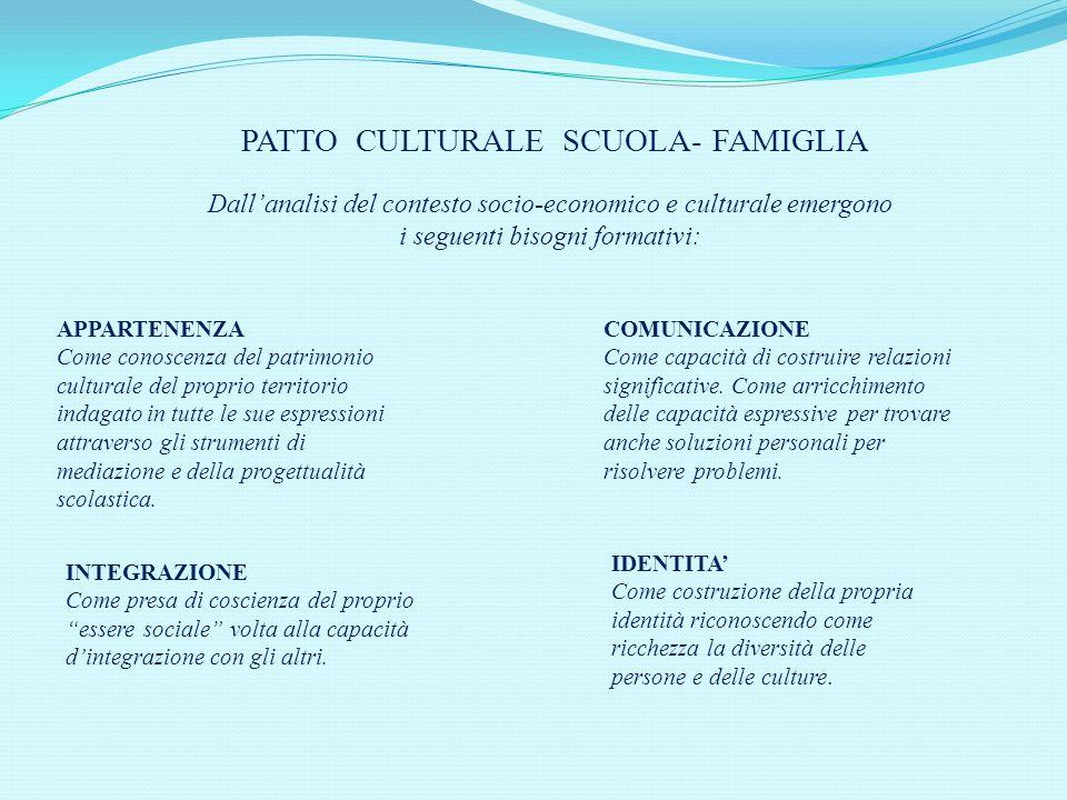 PATTO CULTURALE SCUOLA- FAMIGLIA Dallanalisi del contesto socio-economico e culturale emergono i seguenti bisogni formativi: COMUNICAZIONE Come capacità di costruire relazioni significative.