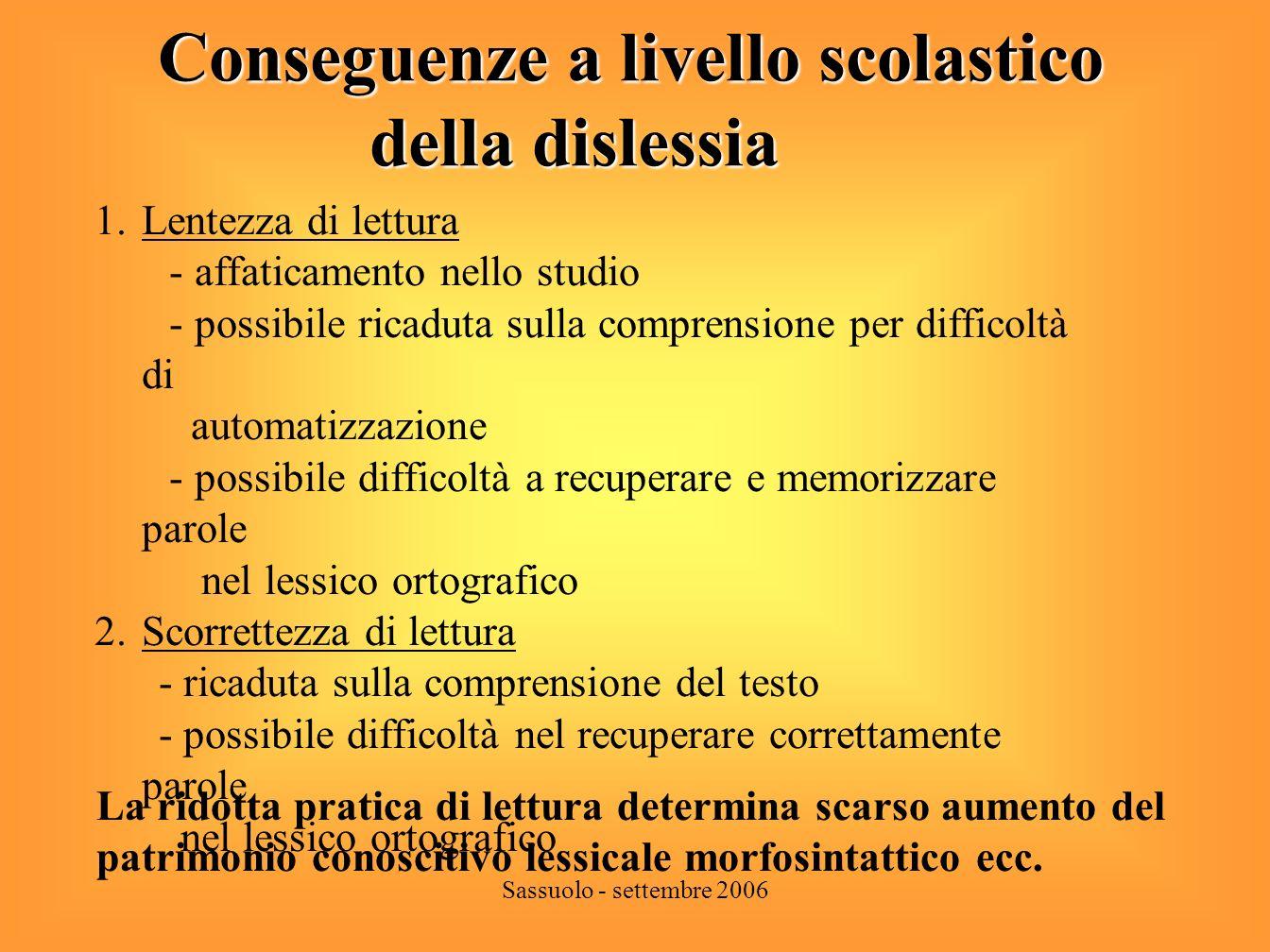 Sassuolo - settembre 2006 Fattori che condizionano levoluzione della dislessia.