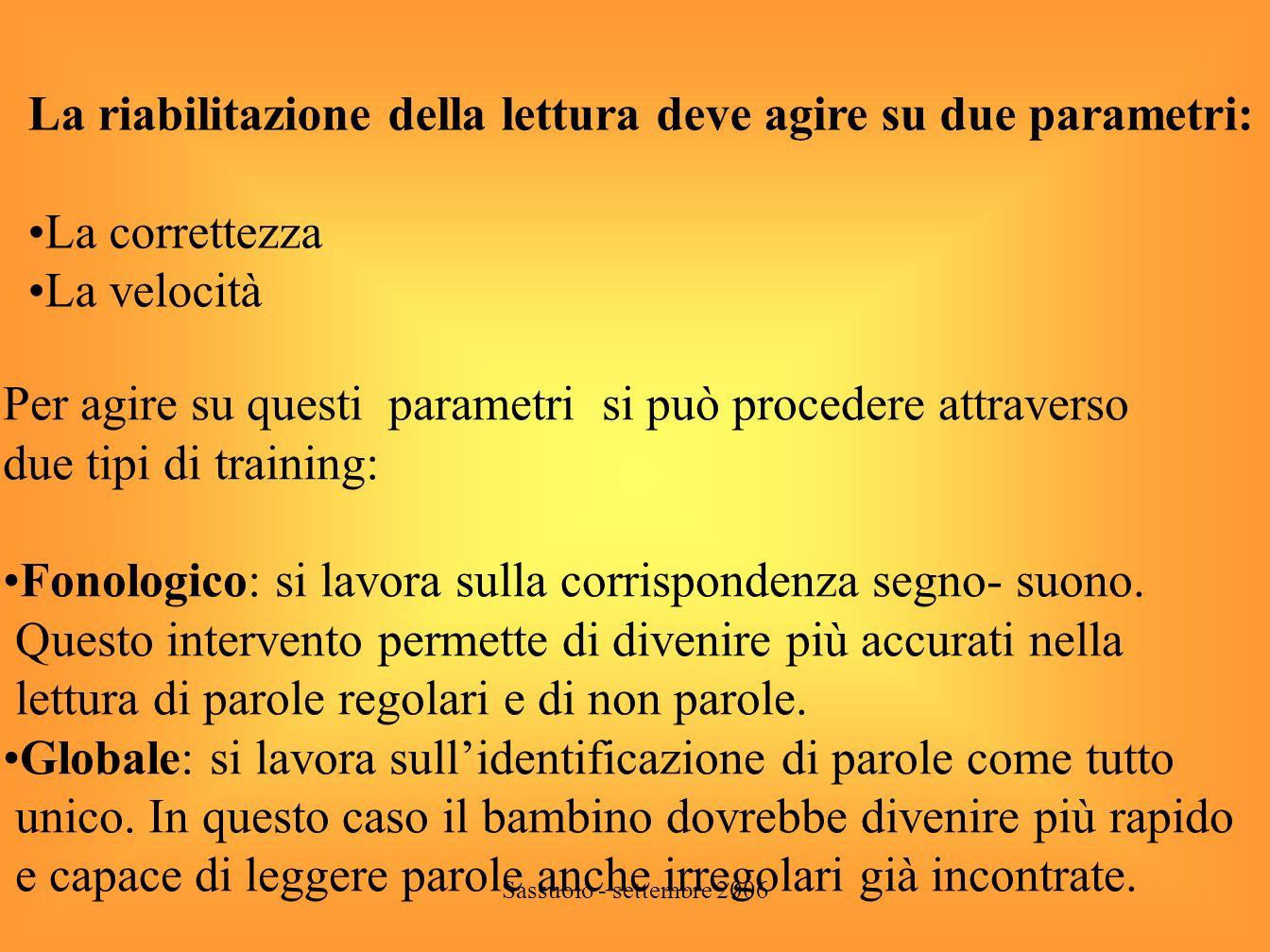 Sassuolo - settembre 2006 Lettura - il lettore scorretto - Lavoro sulla tipologia degli errori ( errori di suono, di recupero dei di/ trigrammi ecc.).