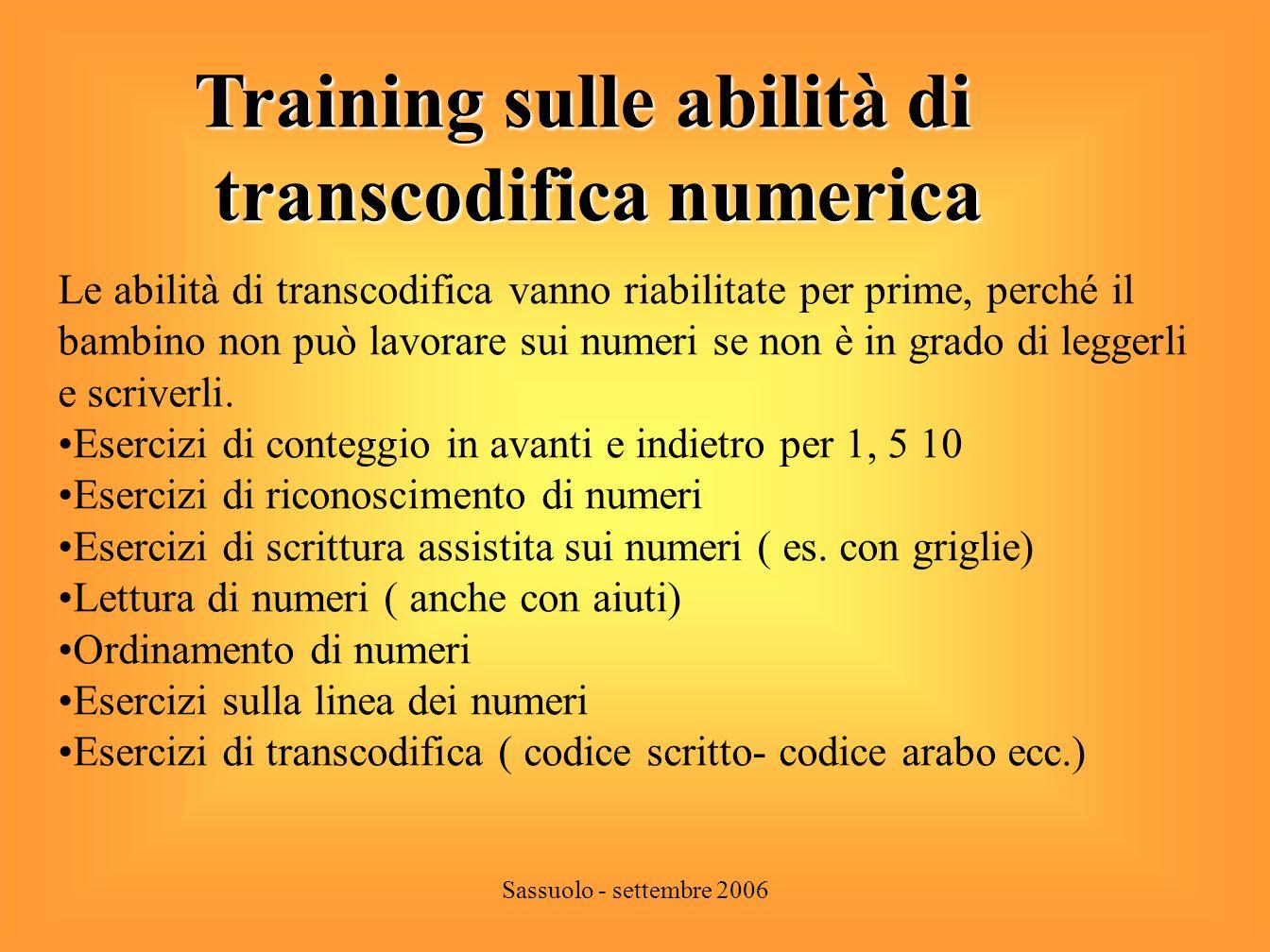 Sassuolo - settembre 2006 Identificazione della struttura sintattica del numero 500 80 7 dettato di 587 Griglia con disposizione dei miscellanei dettato di 24837.