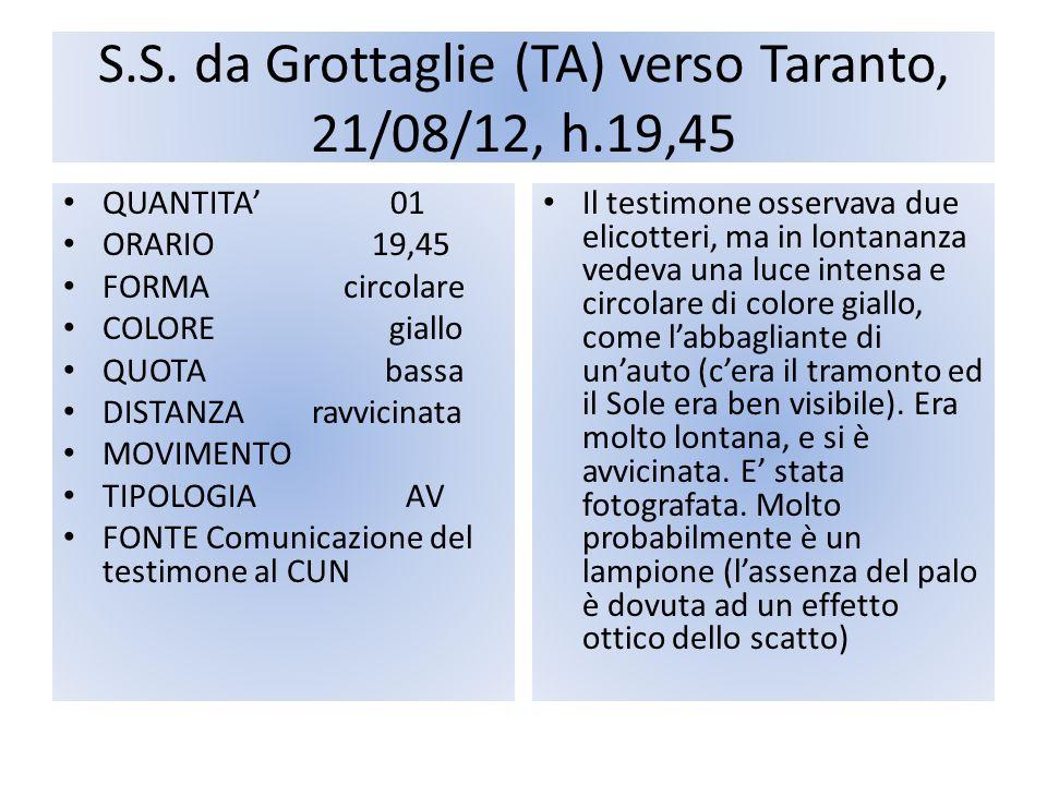 S.S. da Grottaglie (TA) verso Taranto, 21/08/12, h.19,45 QUANTITA 01 ORARIO 19,45 FORMA circolare COLORE giallo QUOTA bassa DISTANZA ravvicinata MOVIM