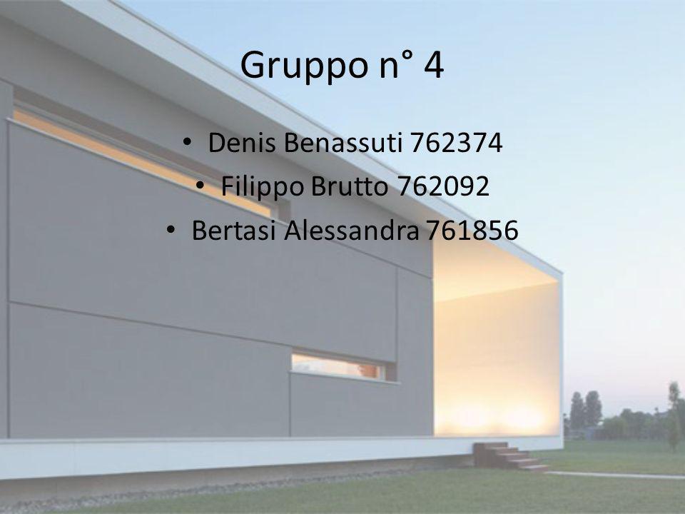 Gruppo n° 4 Denis Benassuti 762374 Filippo Brutto 762092 Bertasi Alessandra 761856