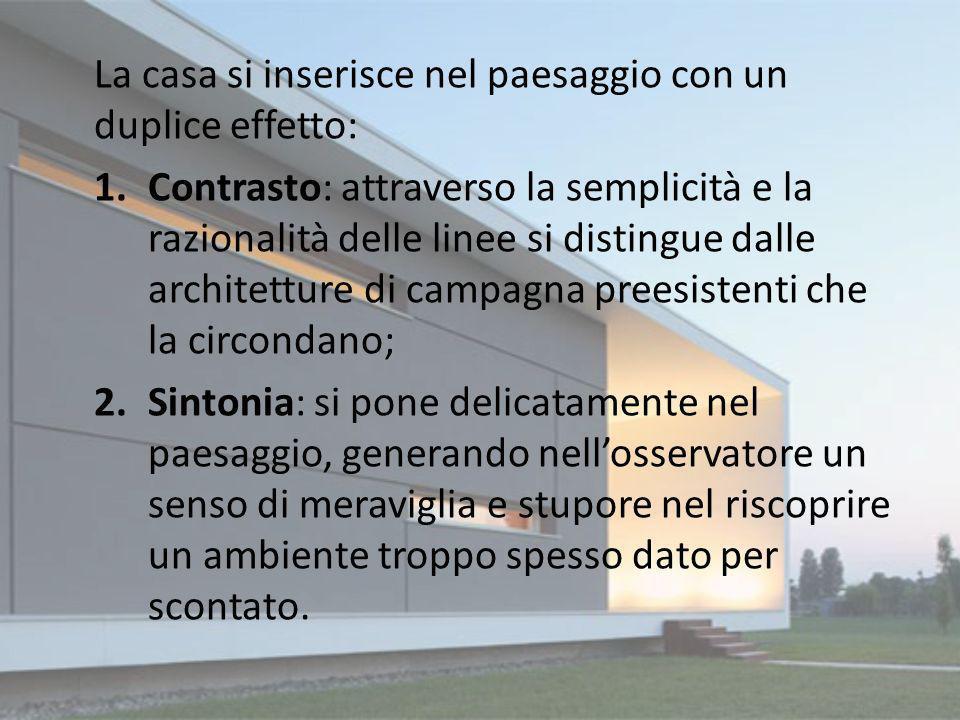 La casa si inserisce nel paesaggio con un duplice effetto: 1.Contrasto: attraverso la semplicità e la razionalità delle linee si distingue dalle archi