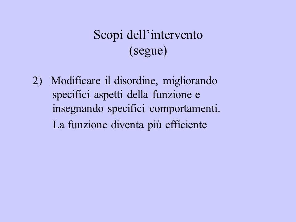 Scopi dellintervento (segue) 2) Modificare il disordine, migliorando specifici aspetti della funzione e insegnando specifici comportamenti. La funzion