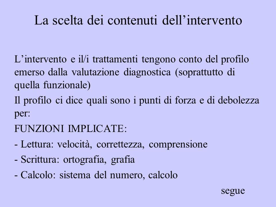 La scelta dei contenuti dellintervento Lintervento e il/i trattamenti tengono conto del profilo emerso dalla valutazione diagnostica (soprattutto di q