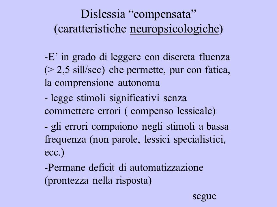 Dislessia compensata (caratteristiche neuropsicologiche) -E in grado di leggere con discreta fluenza (> 2,5 sill/sec) che permette, pur con fatica, la
