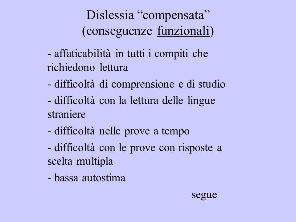 Dislessia compensata (conseguenze funzionali) - affaticabilità in tutti i compiti che richiedono lettura - difficoltà di comprensione e di studio - di