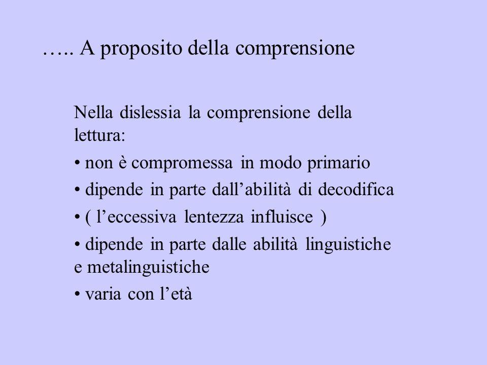 ….. A proposito della comprensione Nella dislessia la comprensione della lettura: non è compromessa in modo primario dipende in parte dallabilità di d