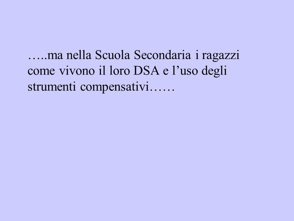 …..ma nella Scuola Secondaria i ragazzi come vivono il loro DSA e luso degli strumenti compensativi……
