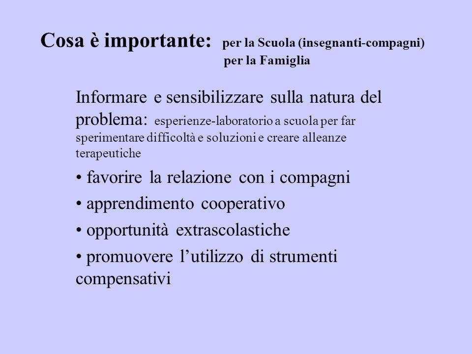 Cosa è importante: per la Scuola (insegnanti-compagni) per la Famiglia Informare e sensibilizzare sulla natura del problema: esperienze-laboratorio a