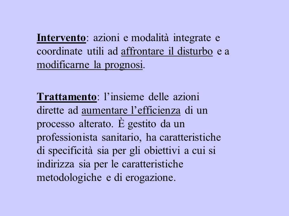 Intervento: azioni e modalità integrate e coordinate utili ad affrontare il disturbo e a modificarne la prognosi. Trattamento: linsieme delle azioni d