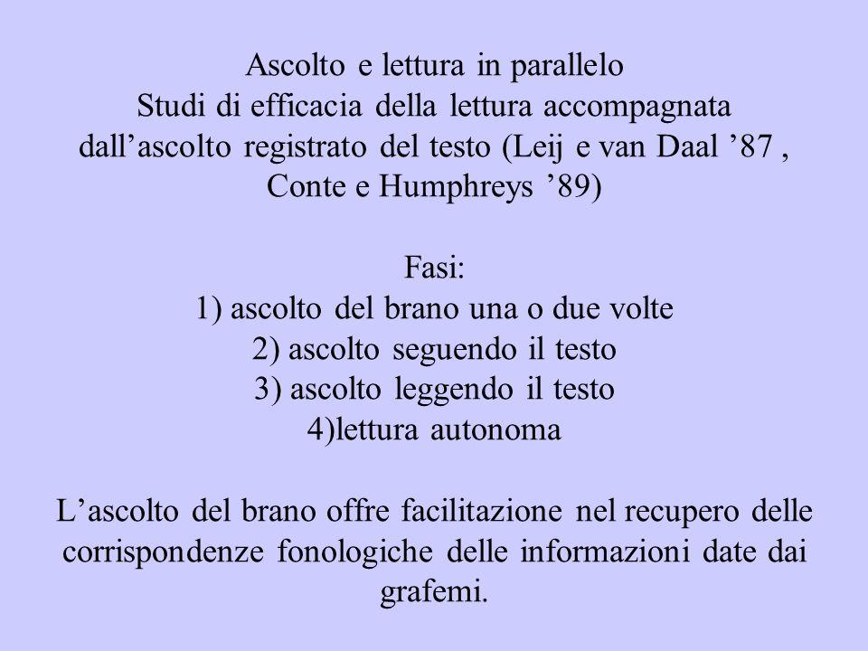 Ascolto e lettura in parallelo Studi di efficacia della lettura accompagnata dallascolto registrato del testo (Leij e van Daal 87, Conte e Humphreys 8