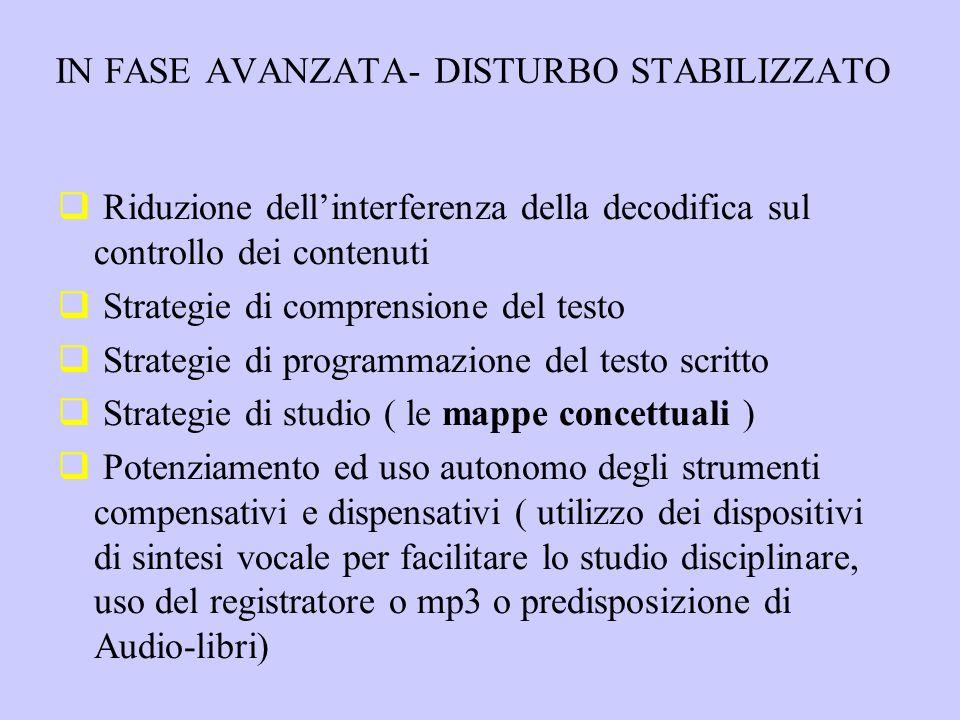 IN FASE AVANZATA- DISTURBO STABILIZZATO Riduzione dellinterferenza della decodifica sul controllo dei contenuti Strategie di comprensione del testo St