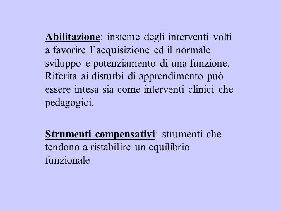 Abilitazione: insieme degli interventi volti a favorire lacquisizione ed il normale sviluppo e potenziamento di una funzione. Riferita ai disturbi di