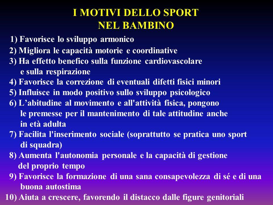 I MOTIVI DELLO SPORT NEL BAMBINO 1) Favorisce lo sviluppo armonico 2) Migliora le capacità motorie e coordinative 3) Ha effetto benefico sulla funzion
