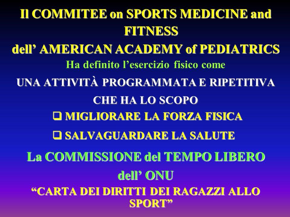 Il COMMITEE on SPORTS MEDICINE and FITNESS dell AMERICAN ACADEMY of PEDIATRICS Ha definito lesercizio fisico come UNA ATTIVITÀ PROGRAMMATA E RIPETITIV