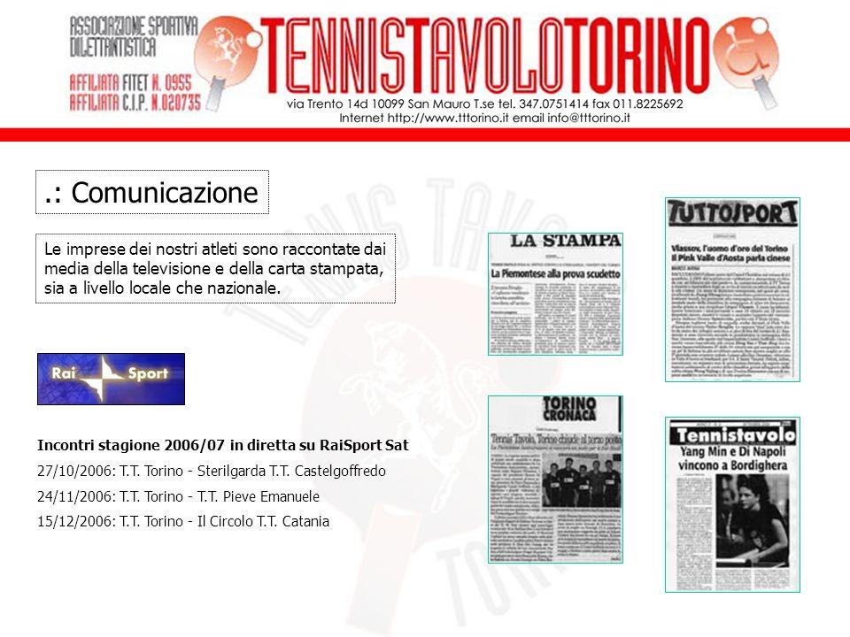.: Comunicazione Le imprese dei nostri atleti sono raccontate dai media della televisione e della carta stampata, sia a livello locale che nazionale.