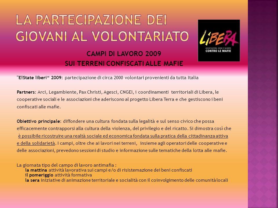 CAMPO PER MINORI 5/15 luglio 09 - Libera Piemonte - Cascina Caccia, San Sebastiano da Po (Chivasso) CAMPI PER ADULTI (In collaborazione con LEGAMBIENTE) 28 luglio / 6 agosto 09 - Libera Campania - Castellamare di stabia (NA) 3/12 agosto 09 - Polistena - Coop.