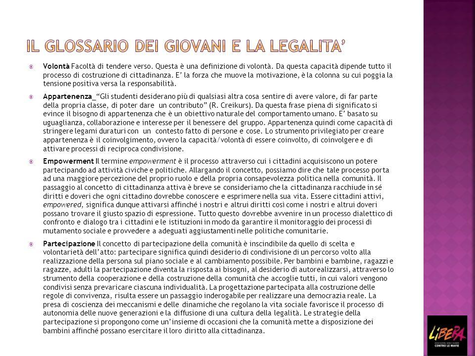 7 parole, 7 espressioni, 7 modi di vedere il rapporto con gli altri 7 argomenti fondamentali per Libera: -Legalità; -Responsabilità; -Giustizia; -Regole; -Sobrietà; -Cittadinanza; -Comunità.