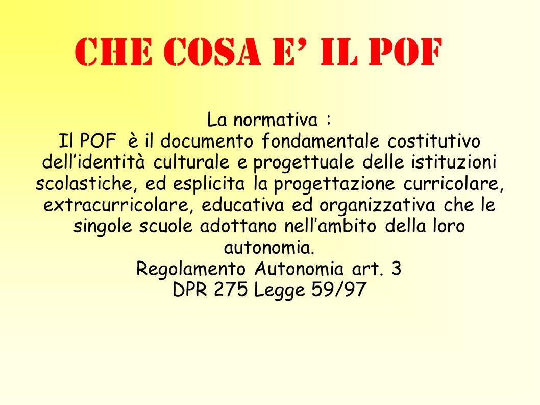 La normativa : Il POF è il documento fondamentale costitutivo dellidentità culturale e progettuale delle istituzioni scolastiche, ed esplicita la prog