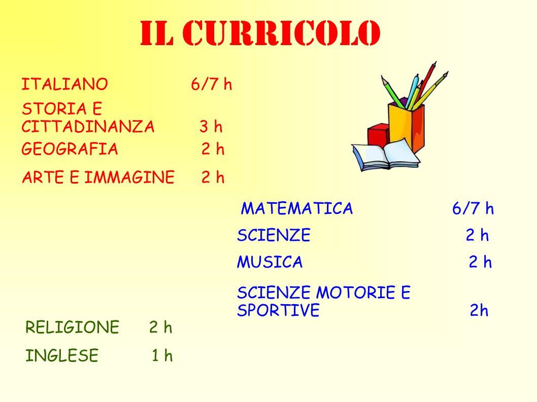 IL CURRICOLO ITALIANO 6/7 h STORIA E CITTADINANZA 3 h GEOGRAFIA 2 h MATEMATICA 6/7 h ARTE E IMMAGINE 2 h MUSICA 2 h SCIENZE 2 h SCIENZE MOTORIE E SPOR