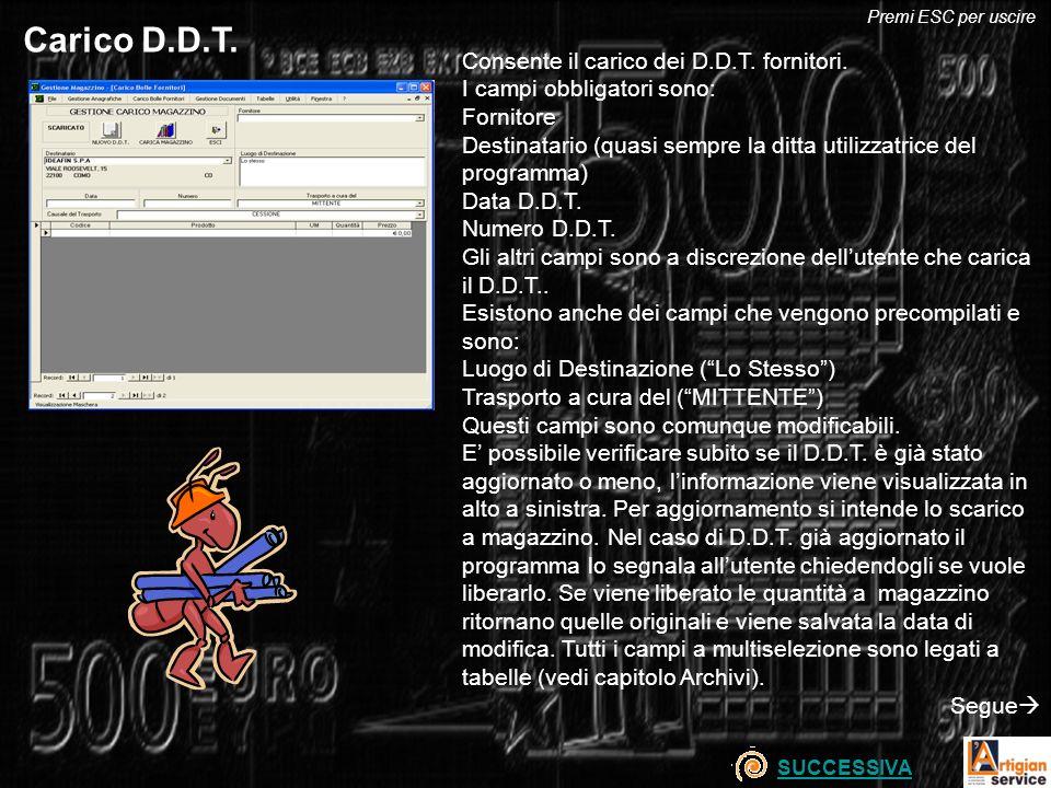 Carico D.D.T. Consente il carico dei D.D.T. fornitori. I campi obbligatori sono: Fornitore Destinatario (quasi sempre la ditta utilizzatrice del progr