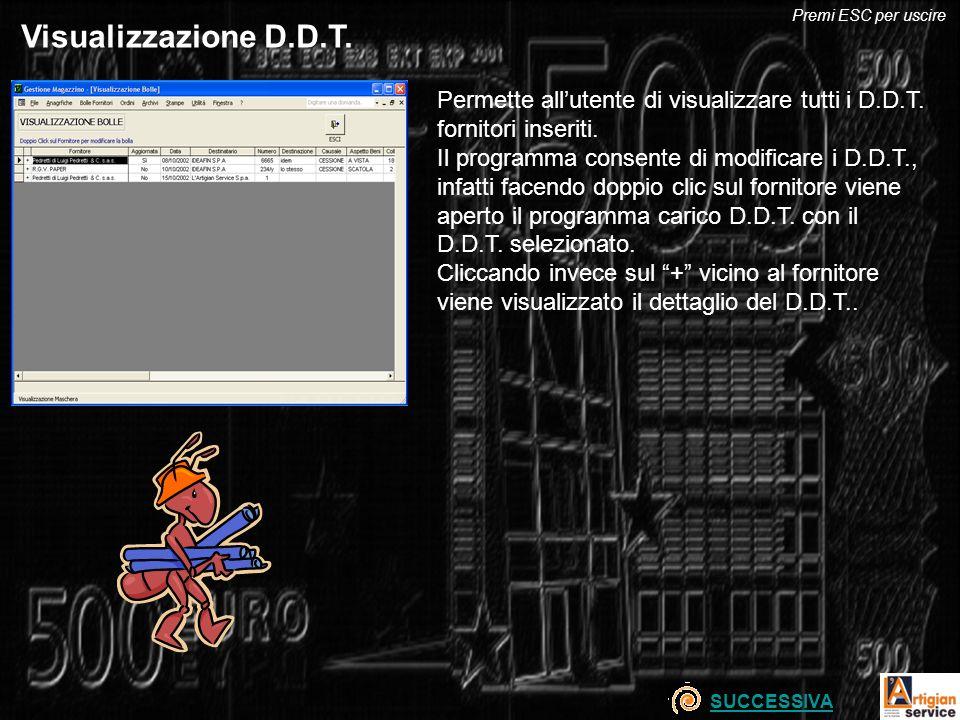 Visualizzazione D.D.T. Permette allutente di visualizzare tutti i D.D.T. fornitori inseriti. Il programma consente di modificare i D.D.T., infatti fac