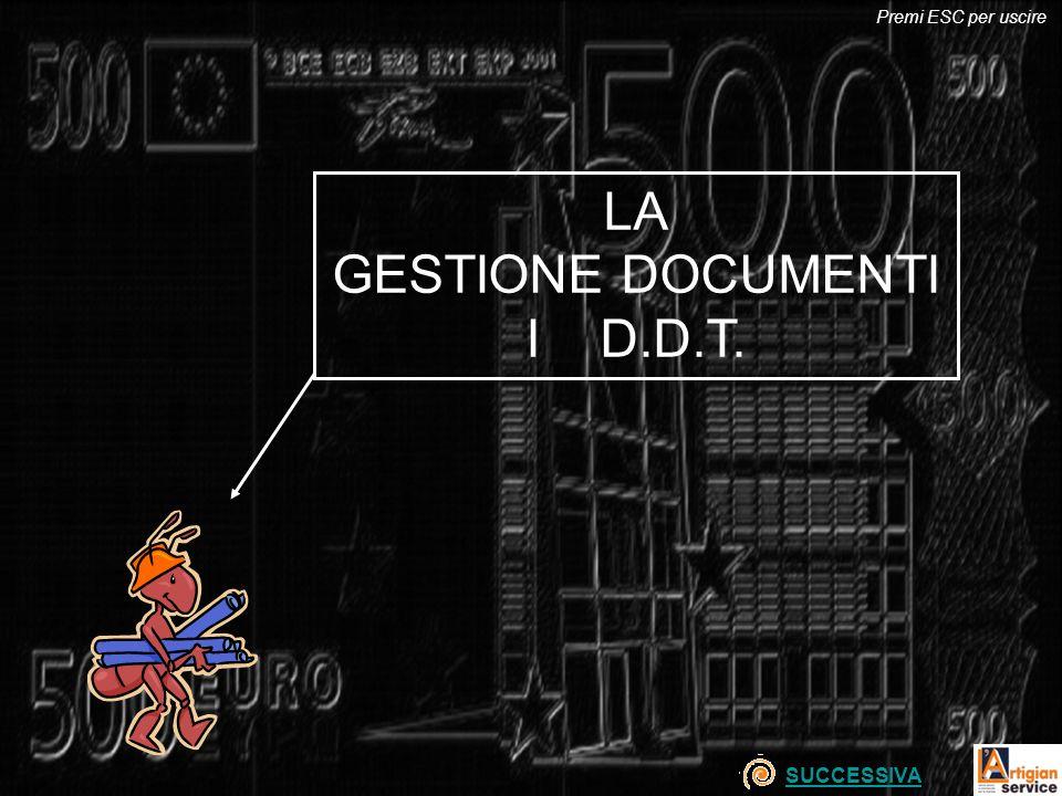 LA GESTIONE DOCUMENTI I D.D.T. SUCCESSIVA Premi ESC per uscire