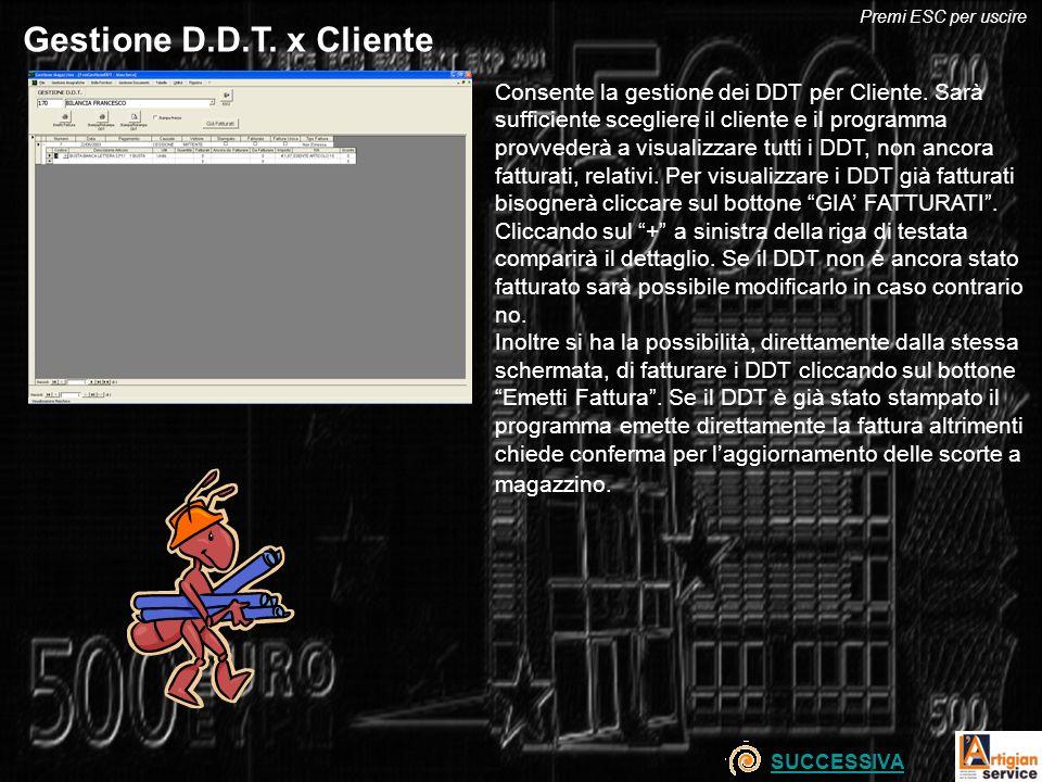 Gestione D.D.T. x Cliente Consente la gestione dei DDT per Cliente. Sarà sufficiente scegliere il cliente e il programma provvederà a visualizzare tut