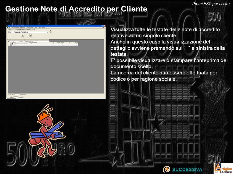 Gestione Note di Accredito per Cliente Visualizza tutte le testate delle note di accredito relative ad un singolo cliente. Anche in questo caso la vis