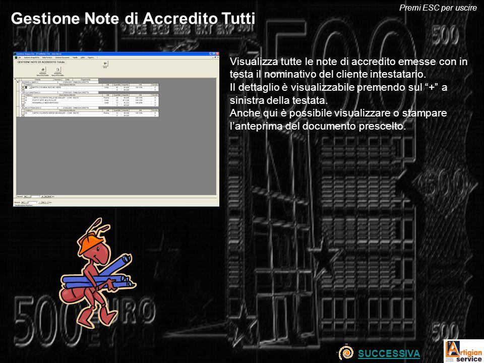 Gestione Note di Accredito Tutti Visualizza tutte le note di accredito emesse con in testa il nominativo del cliente intestatario. Il dettaglio è visu