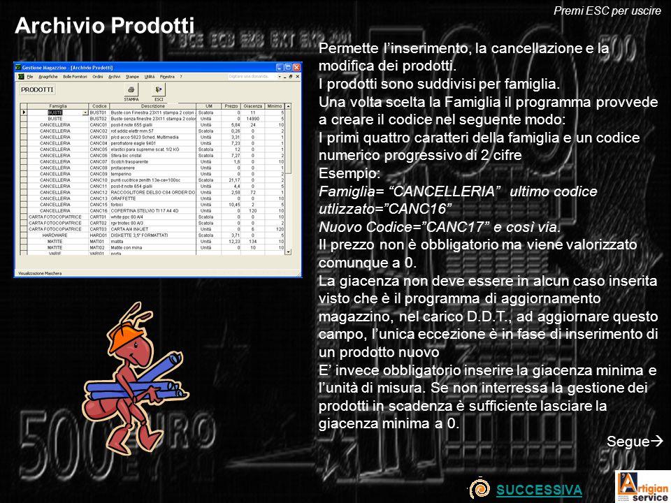 Archivio Prodotti Permette linserimento, la cancellazione e la modifica dei prodotti.