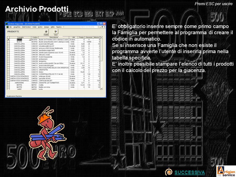 Archivio Prodotti E obbligatorio inserire sempre come primo campo la Famiglia per permettere al programma di creare il codice in automatico. Se si ins