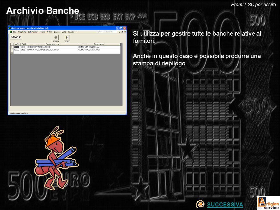Archivio Banche Si utilizza per gestire tutte le banche relative ai fornitori. Anche in questo caso è possibile produrre una stampa di riepilogo. SUCC