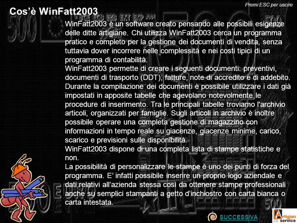 WinFatt2003 è un software creato pensando alle possibili esigenze delle ditte artigiane. Chi utilizza WinFatt2003 cerca un programma pratico e complet