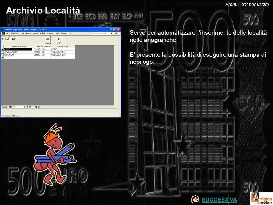 Archivio Località Serve per automatizzare linserimento delle località nelle anagrafiche. E presente la possibilità di eseguire una stampa di riepilogo