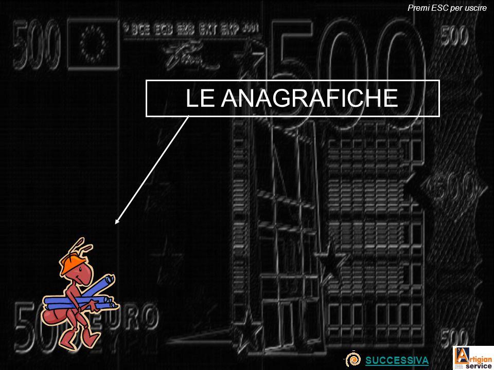 LE ANAGRAFICHE SUCCESSIVA Premi ESC per uscire