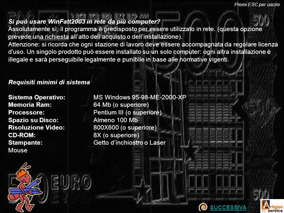 Si può usare WinFatt2003 in rete da più computer? Assolutamente sì; il programma è predisposto per essere utilizzato in rete. (questa opzione prevede