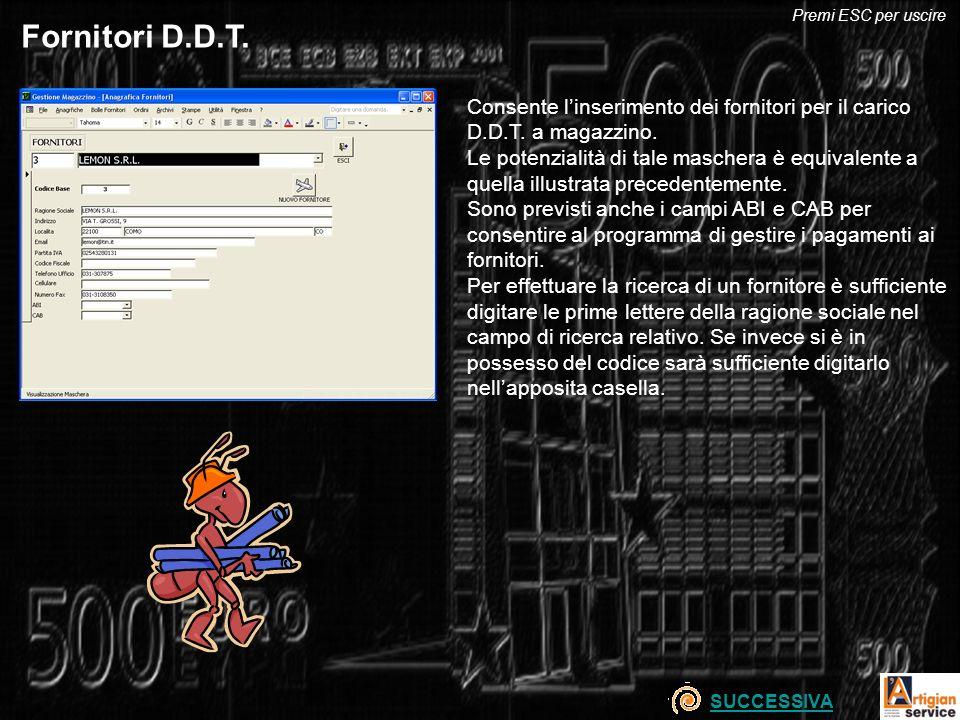 Fornitori D.D.T. Consente linserimento dei fornitori per il carico D.D.T. a magazzino. Le potenzialità di tale maschera è equivalente a quella illustr