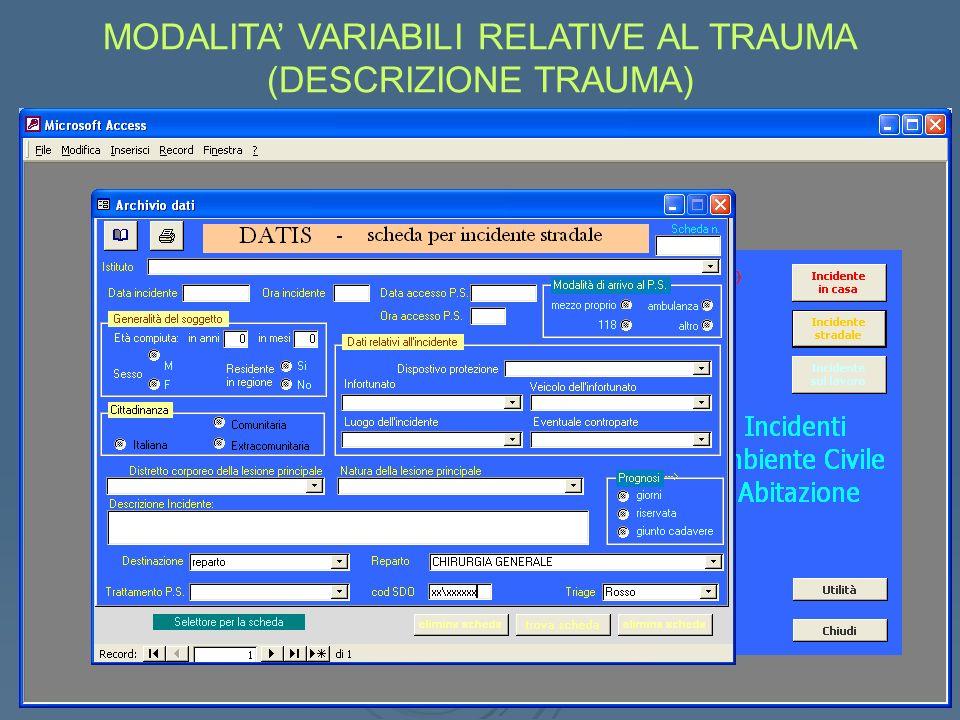 MODALITA VARIABILI RELATIVE AL TRAUMA (DESCRIZIONE TRAUMA)